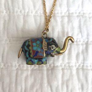 Vtg Cloisonné Elephant Pendant